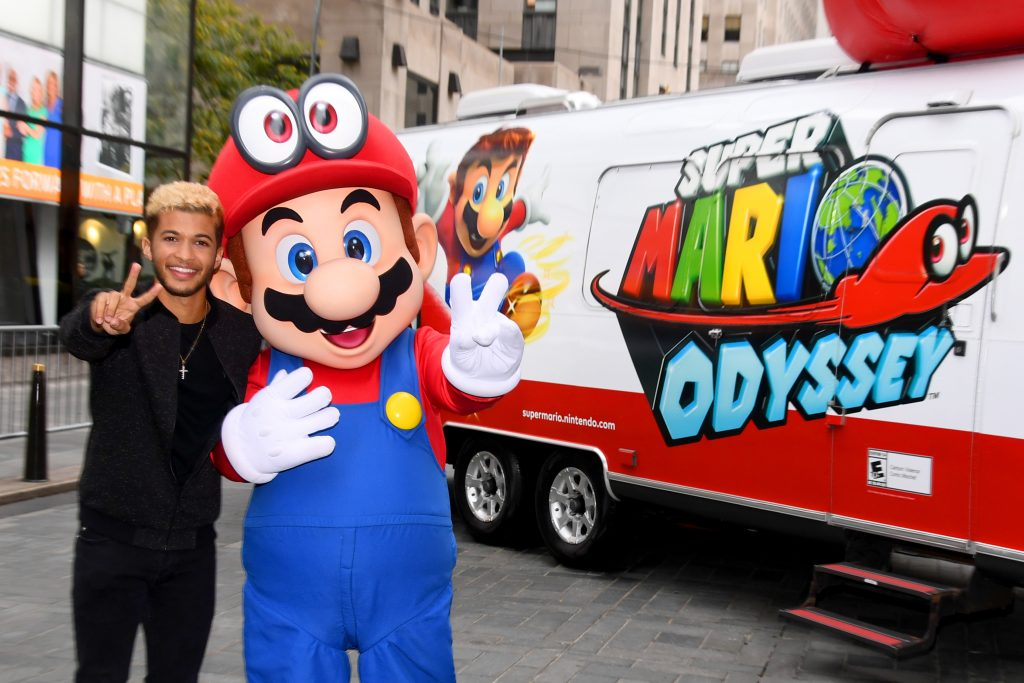 NEW YORK, NY - OCTOBER 26: Jordan Fisher, multi-talented star and current contestant on Dancing with the Stars and Mario co-host the Super Mario Odyssey for Nintendo Switch launch event on October 26, 2017 at Rockefeller Plaza in New York. (Photo by Dave Kotinsky/Getty Images for Nintendo of America) *** Local Caption *** Jordan Fisher
